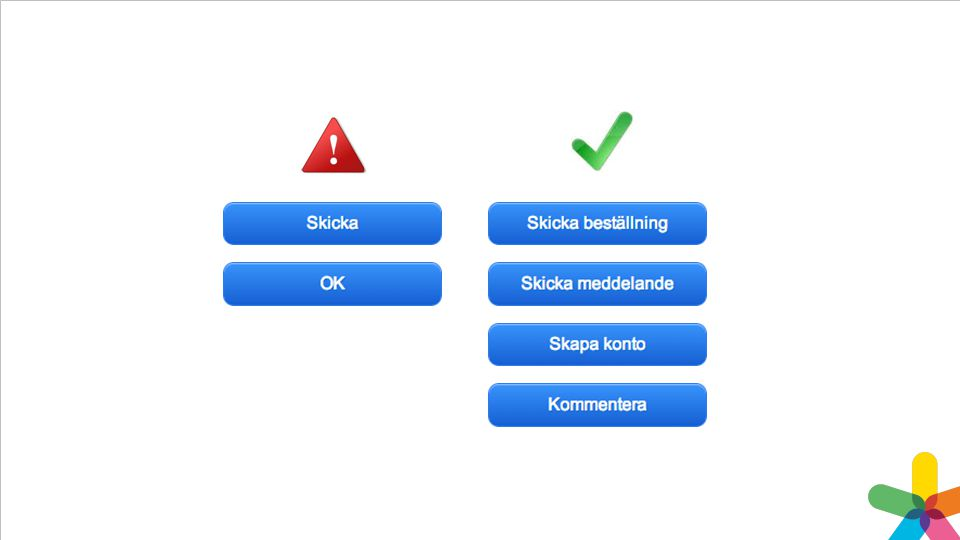 Undvik knappar som heter OK