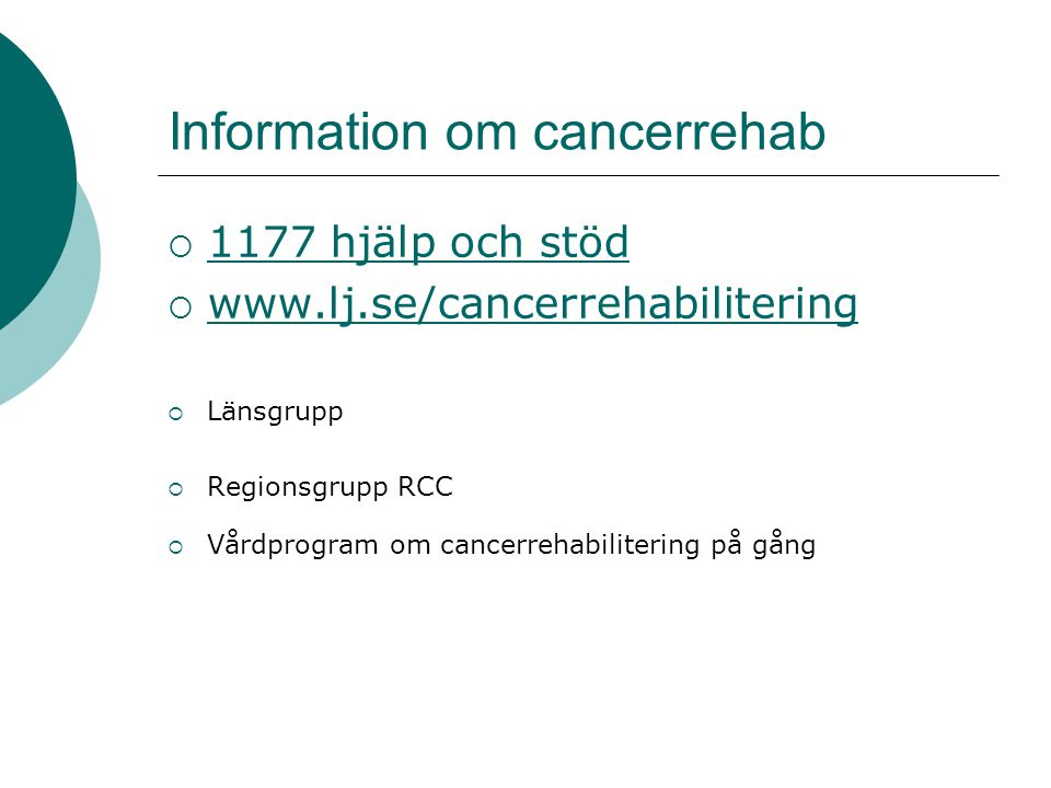 Information om cancerrehab