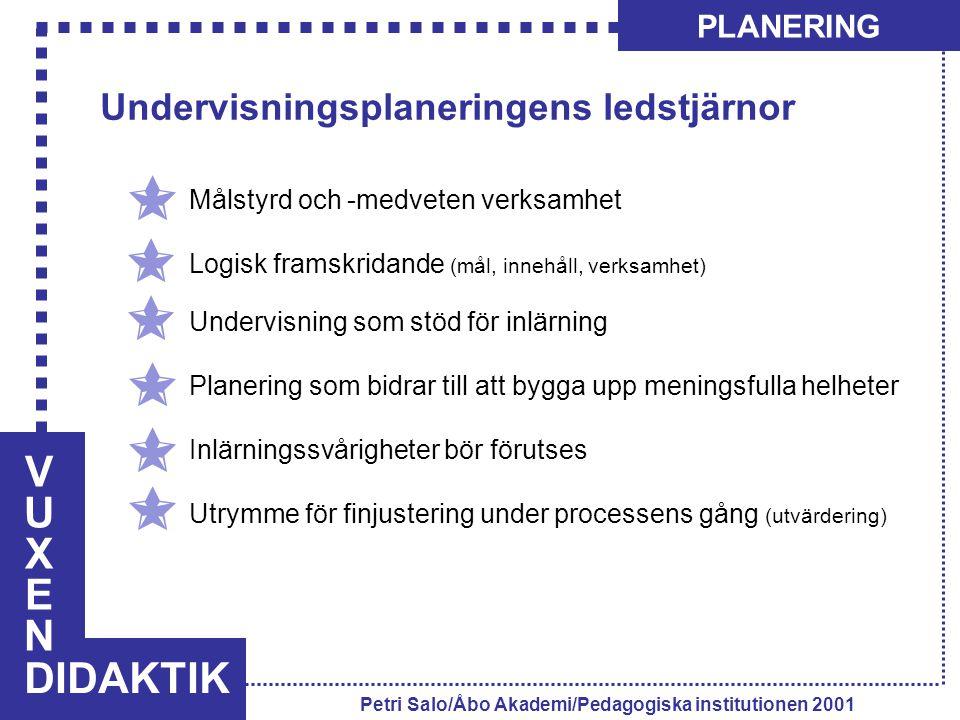 V U X E N DIDAKTIK Undervisningsplaneringens ledstjärnor PLANERING
