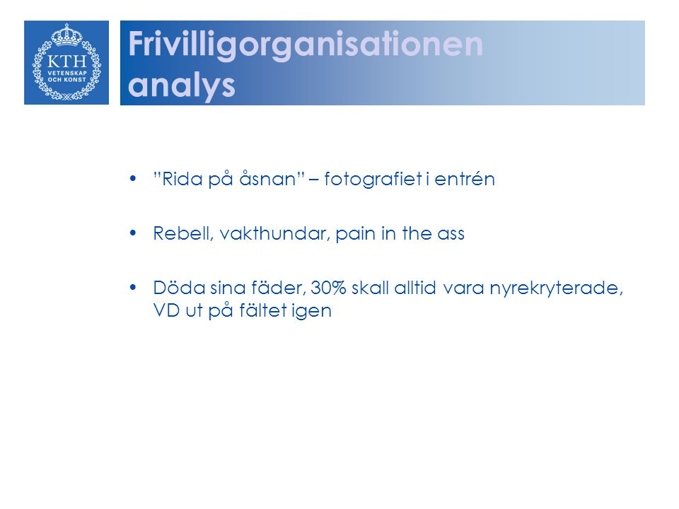 Frivilligorganisationen analys