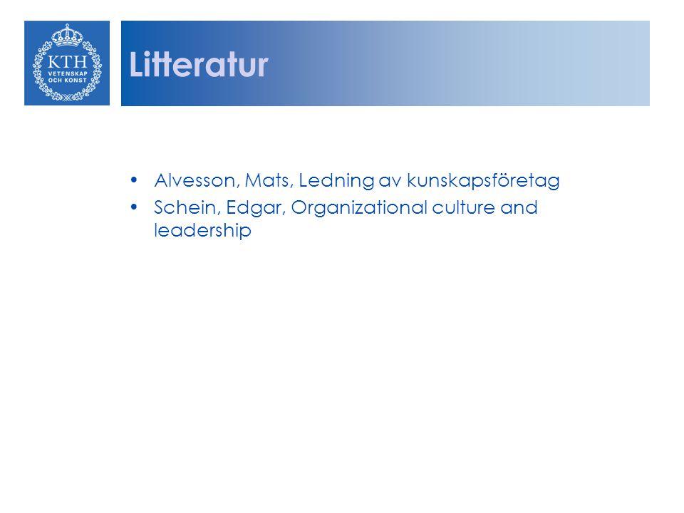 Litteratur Alvesson, Mats, Ledning av kunskapsföretag