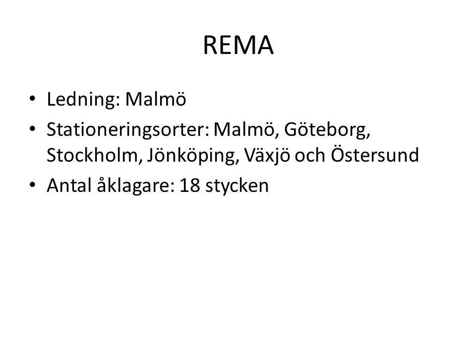 REMA Ledning: Malmö. Stationeringsorter: Malmö, Göteborg, Stockholm, Jönköping, Växjö och Östersund.