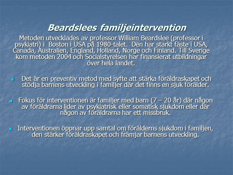 Beardslees familjeintervention
