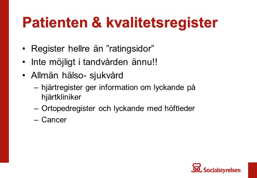 Patienten & kvalitetsregister