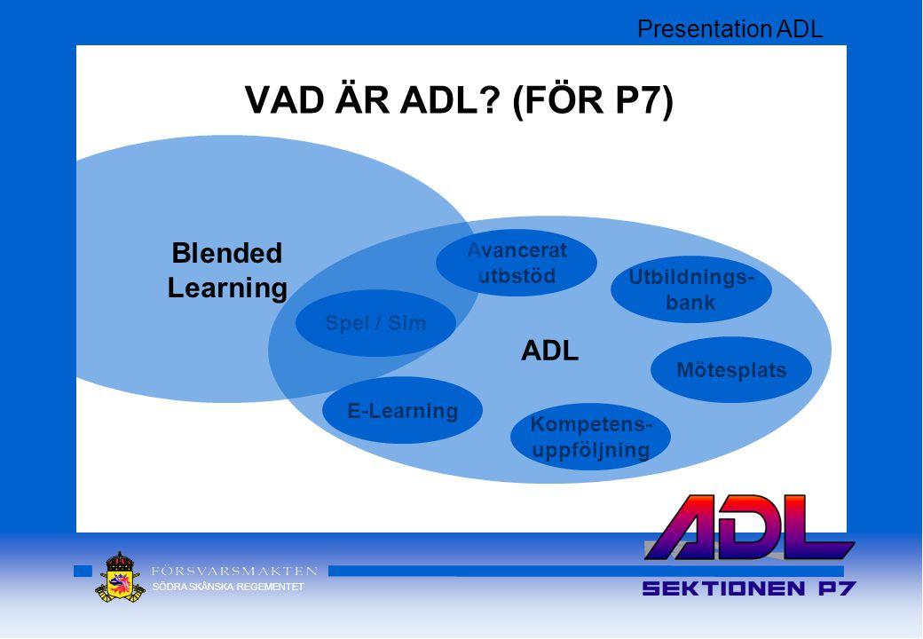 VAD ÄR ADL (FÖR P7) Blended Learning ADL Presentation ADL Avancerat