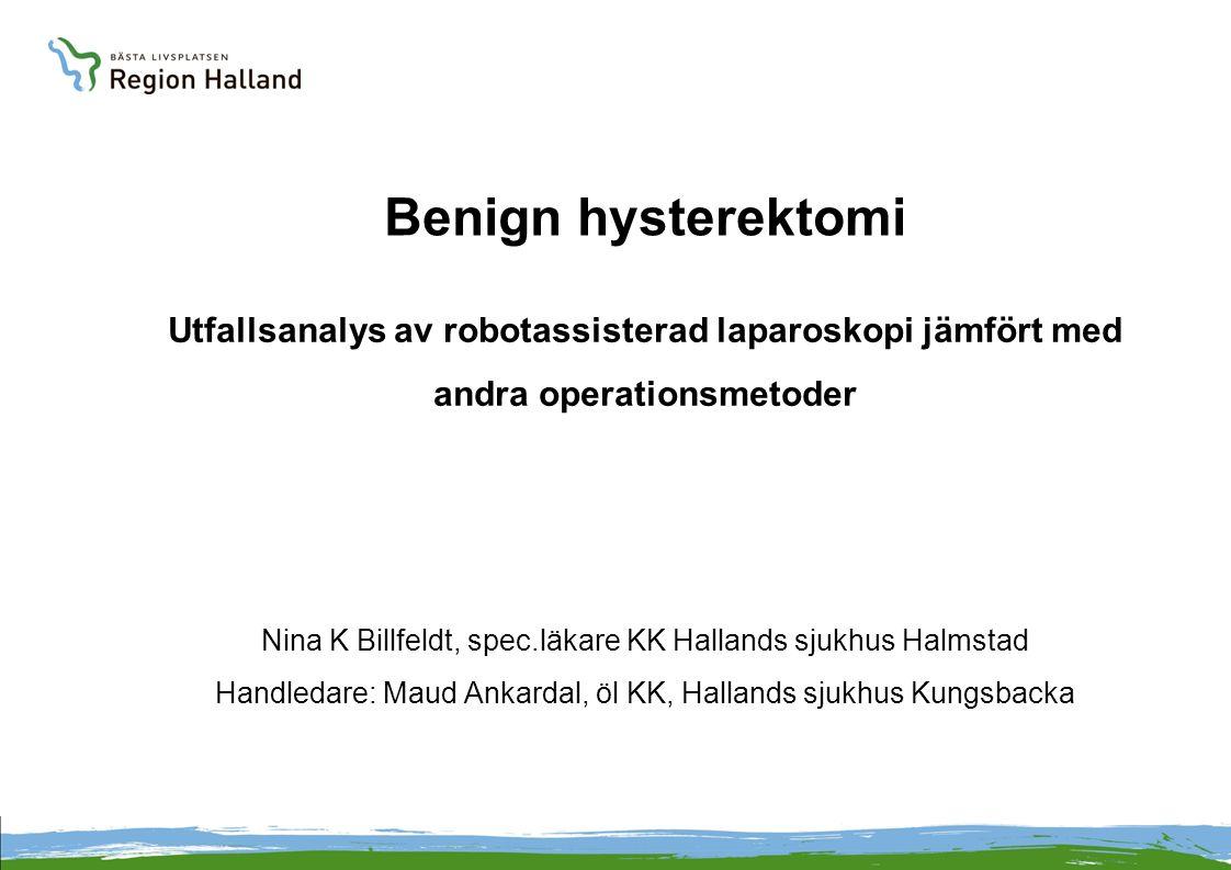 Benign hysterektomi Utfallsanalys av robotassisterad laparoskopi jämfört med andra operationsmetoder.