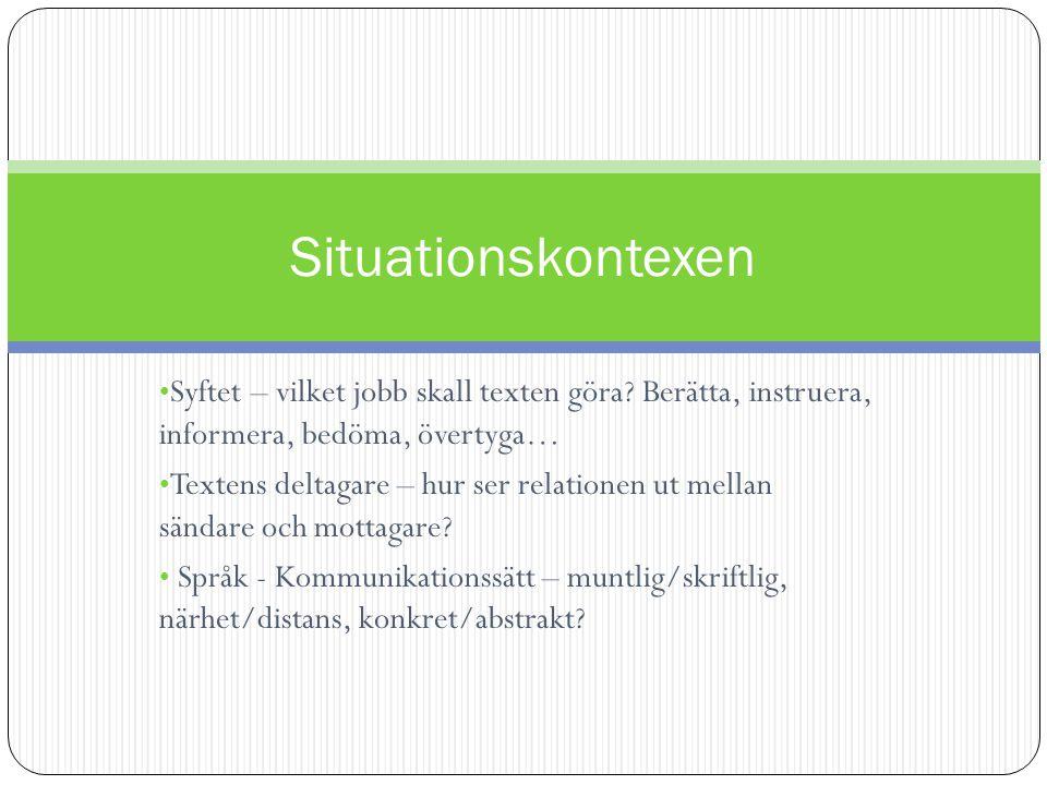 Situationskontexen Syftet – vilket jobb skall texten göra Berätta, instruera, informera, bedöma, övertyga…