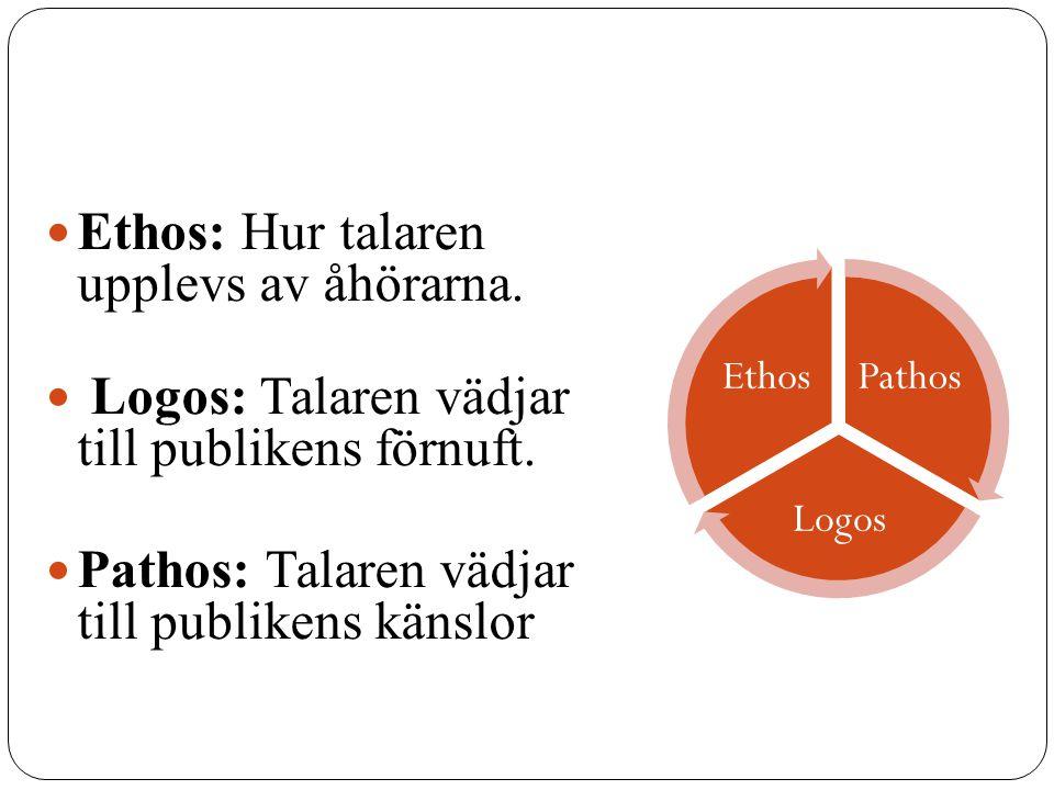 Ethos: Hur talaren upplevs av åhörarna.