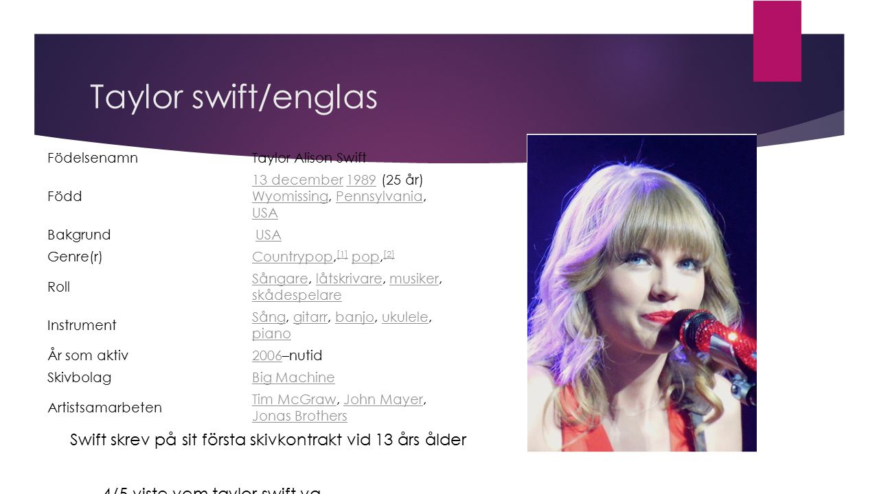 Taylor swift/englas Födelsenamn. Taylor Alison Swift. Född. 13 december 1989 (25 år) Wyomissing, Pennsylvania, USA.