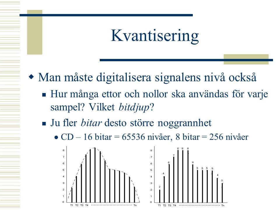 Kvantisering Man måste digitalisera signalens nivå också