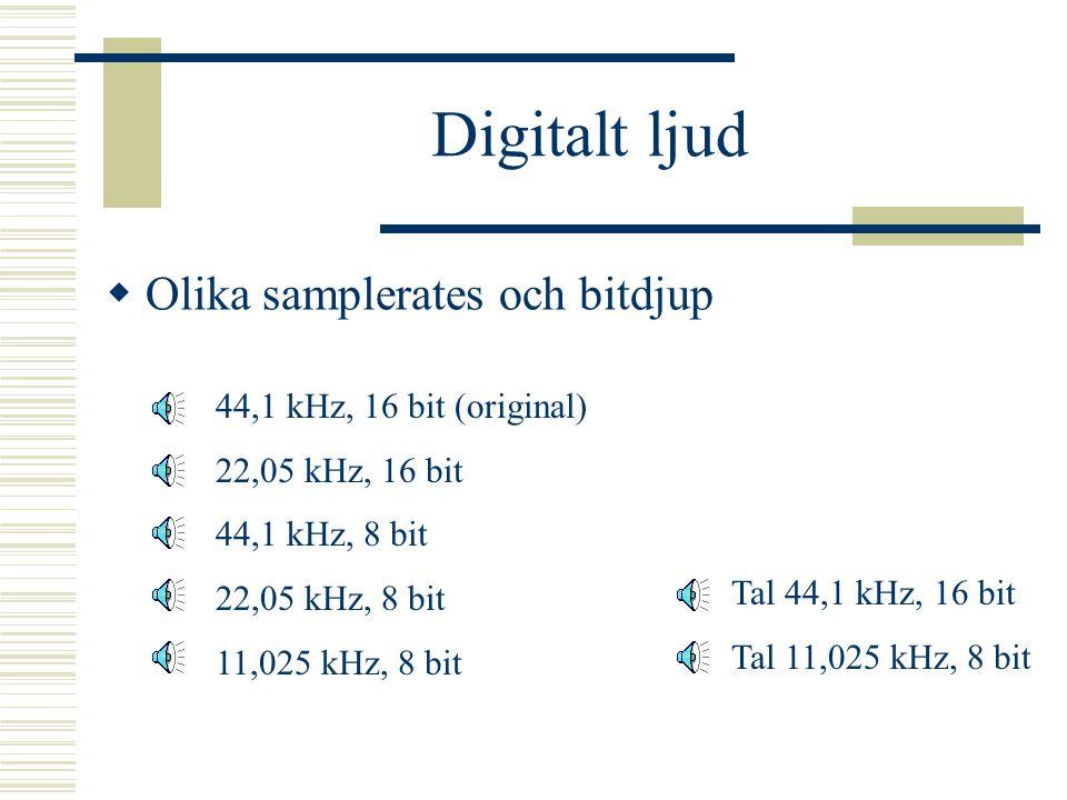 Digitalt ljud Olika samplerates och bitdjup