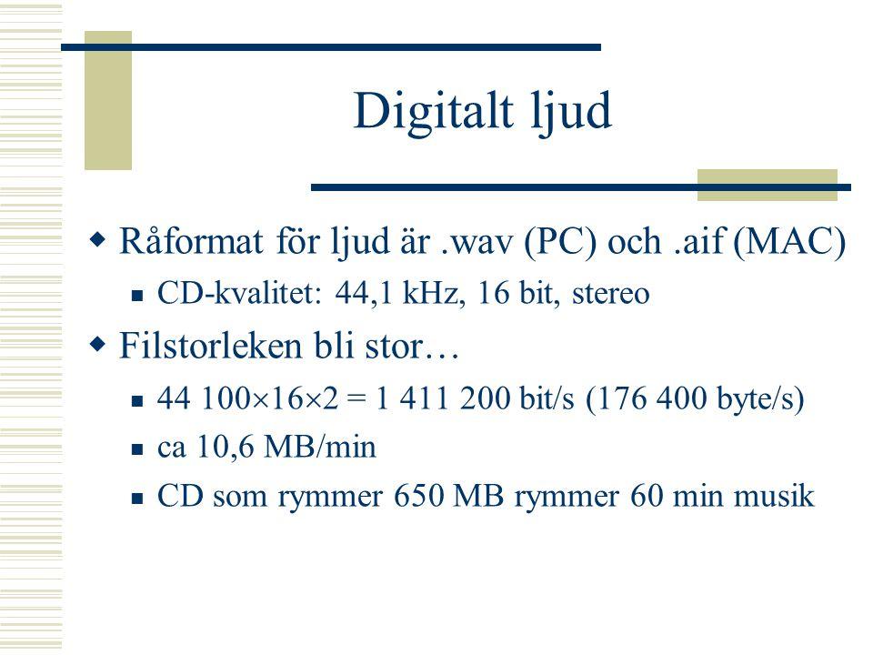 Digitalt ljud Råformat för ljud är .wav (PC) och .aif (MAC)