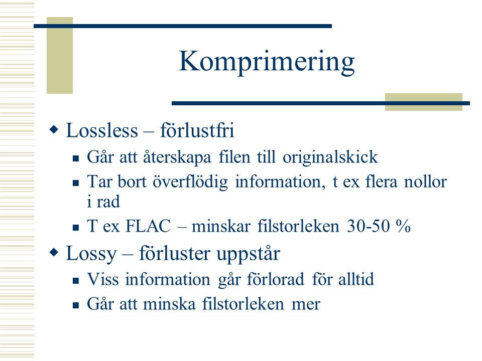 Komprimering Lossless – förlustfri Lossy – förluster uppstår