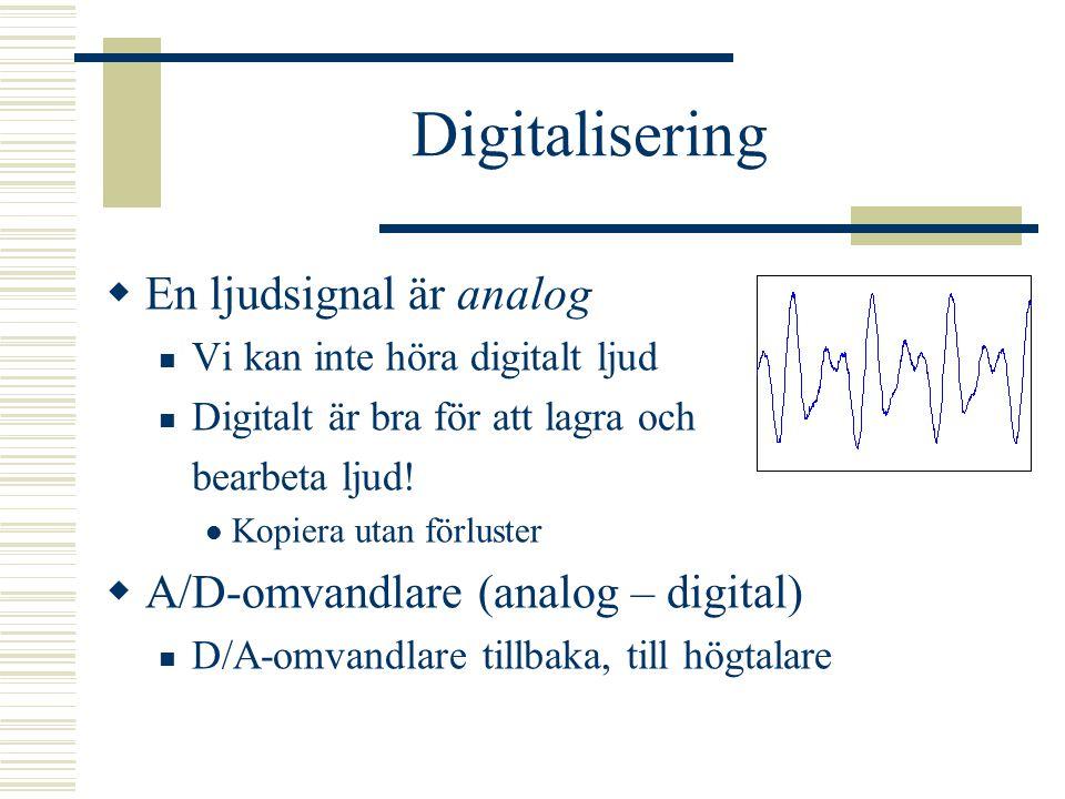 Digitalisering En ljudsignal är analog