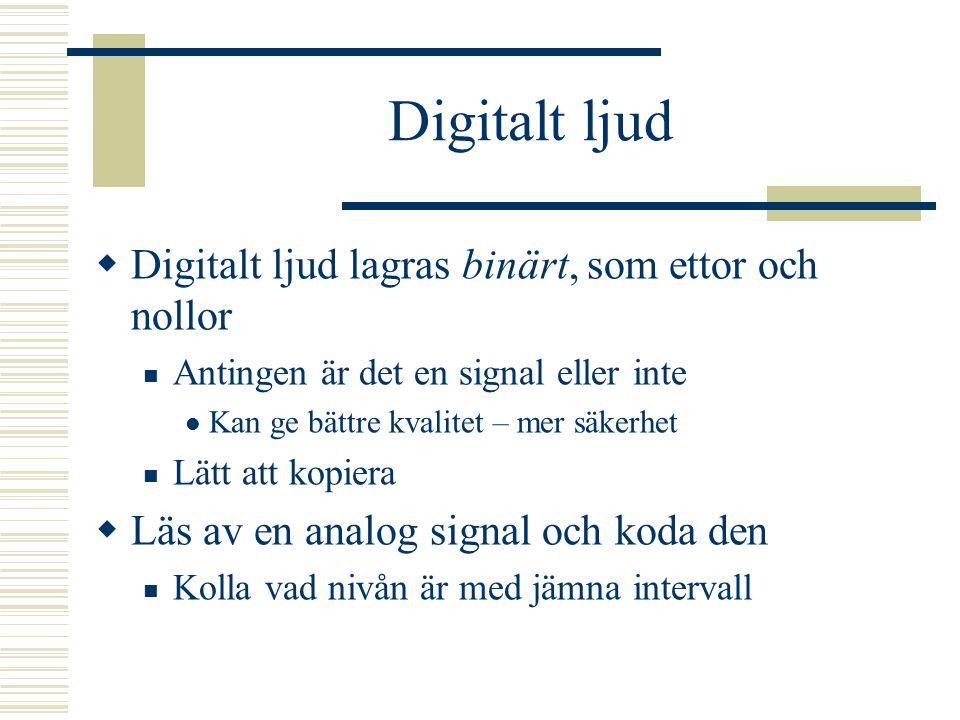Digitalt ljud Digitalt ljud lagras binärt, som ettor och nollor