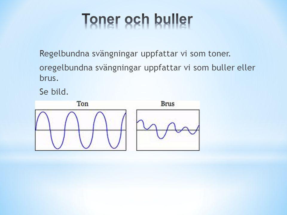 Toner och buller Regelbundna svängningar uppfattar vi som toner.