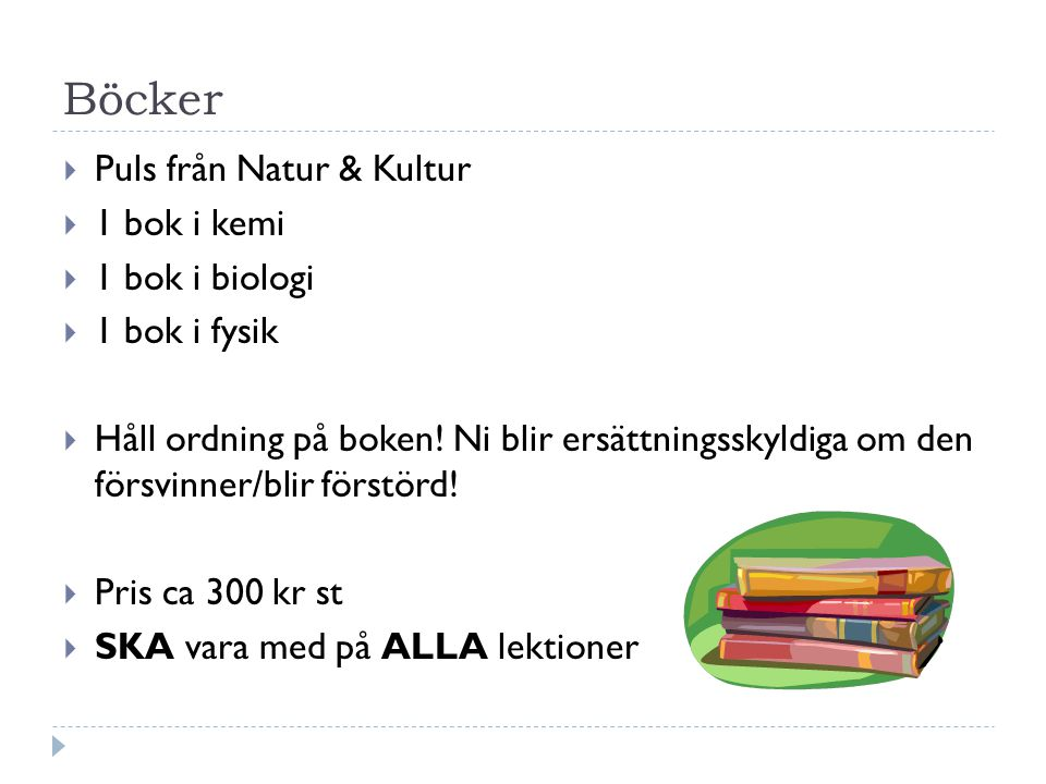 Böcker Puls från Natur & Kultur 1 bok i kemi 1 bok i biologi