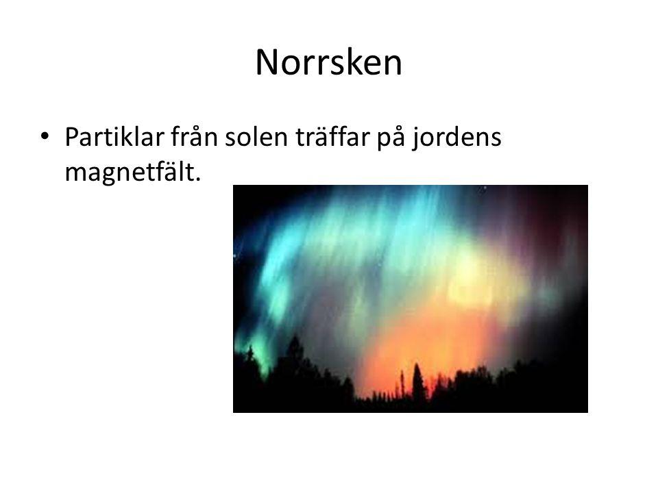 Norrsken Partiklar från solen träffar på jordens magnetfält.