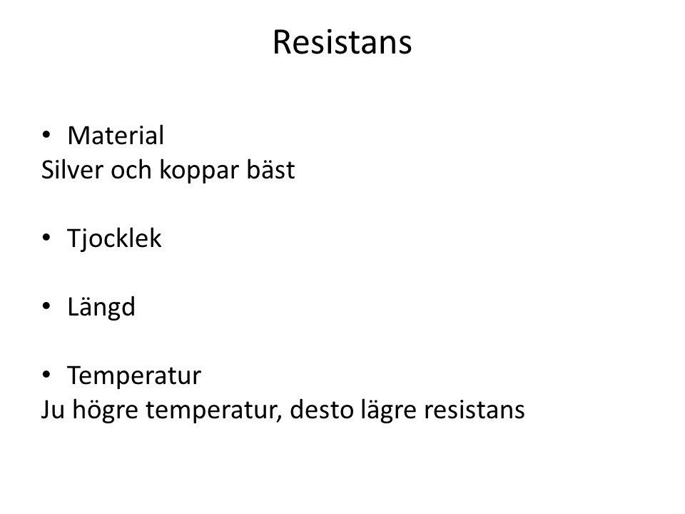 Resistans Material Silver och koppar bäst Tjocklek Längd Temperatur
