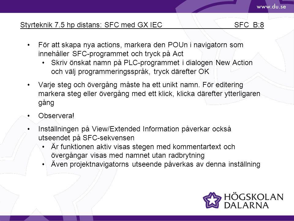 Styrteknik 7.5 hp distans: SFC med GX IEC SFC_B:8