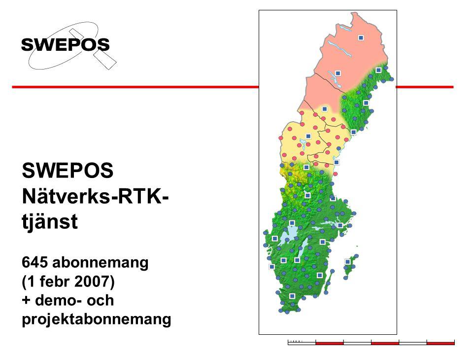 SWEPOS Nätverks-RTK-tjänst 645 abonnemang (1 febr 2007) + demo- och projektabonnemang