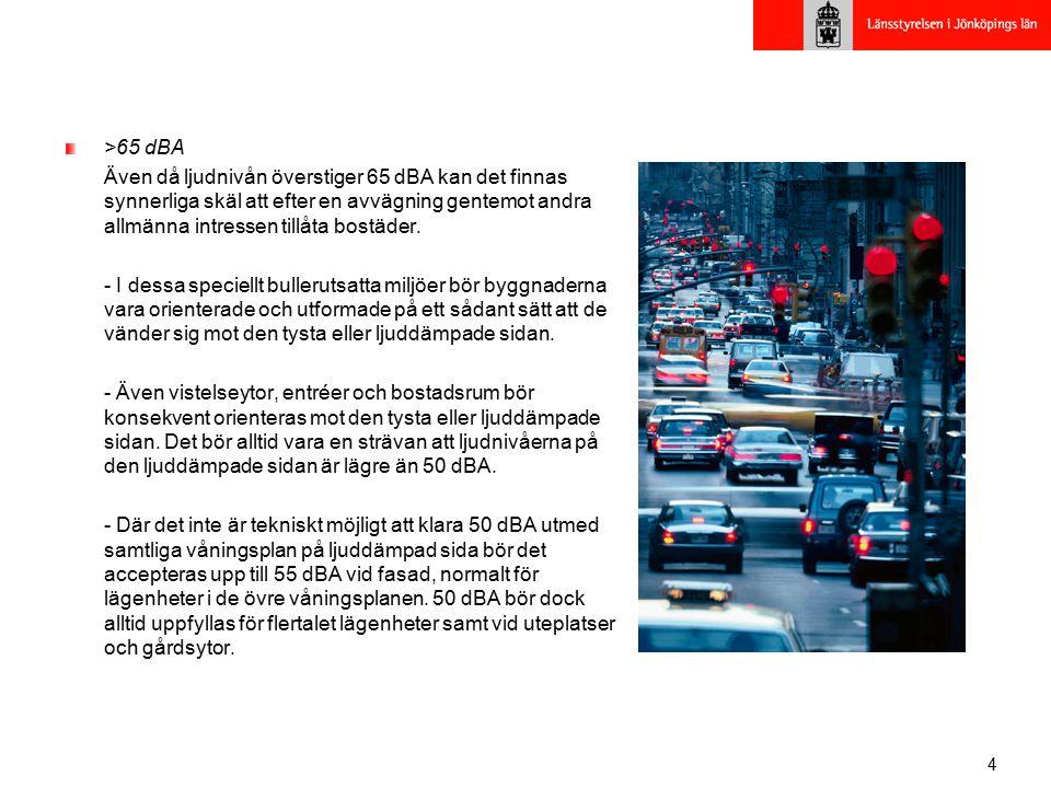 >65 dBA Även då ljudnivån överstiger 65 dBA kan det finnas synnerliga skäl att efter en avvägning gentemot andra allmänna intressen tillåta bostäder.