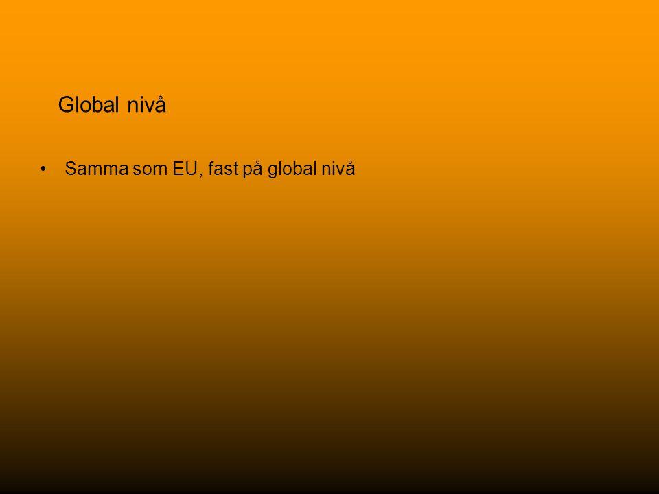 Global nivå Samma som EU, fast på global nivå