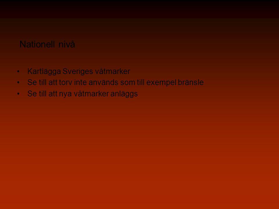 Nationell nivå Kartlägga Sveriges våtmarker