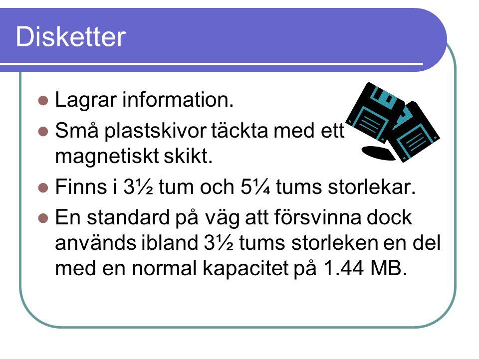 Disketter Lagrar information.