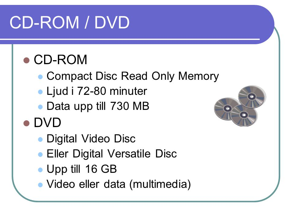 CD-ROM / DVD CD-ROM DVD Compact Disc Read Only Memory
