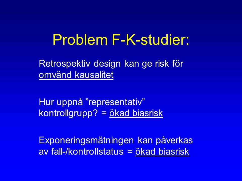 Problem F-K-studier: Retrospektiv design kan ge risk för omvänd kausalitet. Hur uppnå representativ kontrollgrupp = ökad biasrisk.