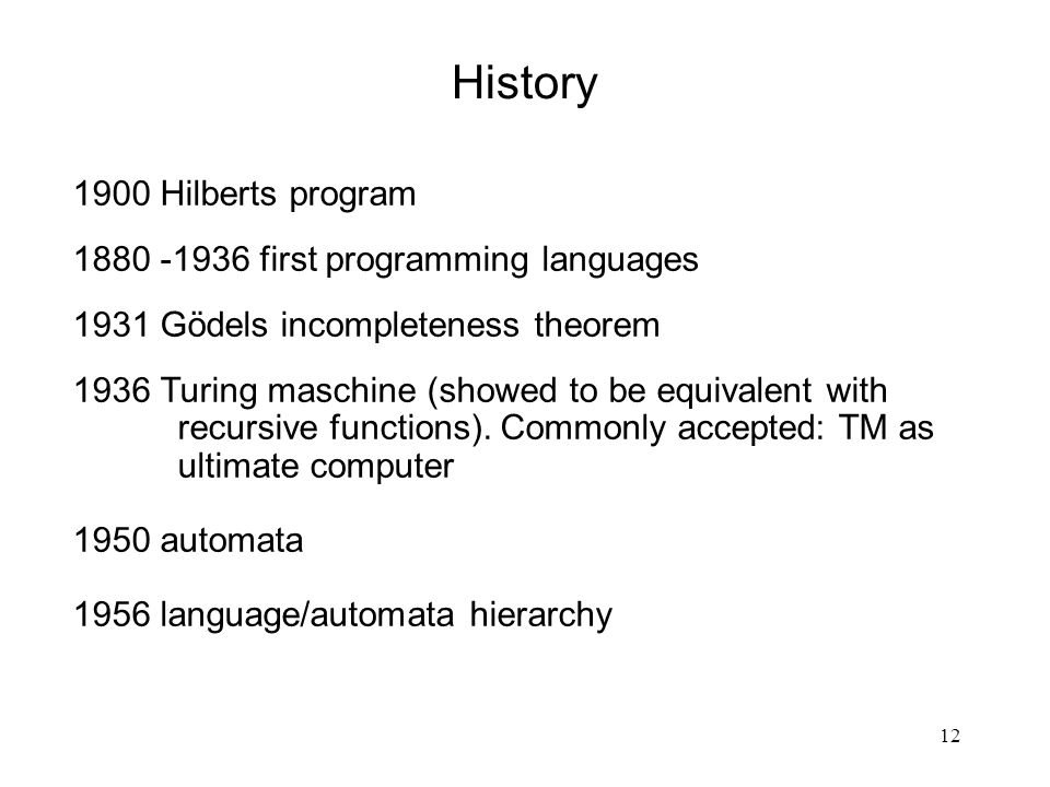History 1900 Hilberts program 1880 -1936 first programming languages