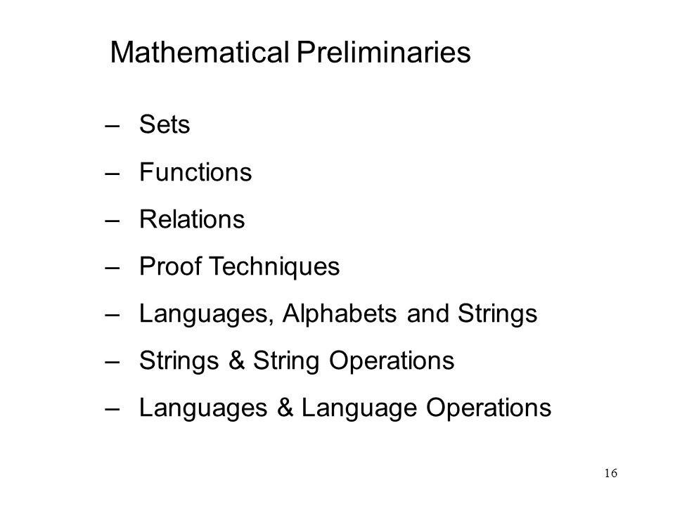 Mathematical Preliminaries
