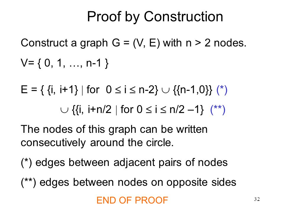 Construct a graph G = (V, E) with n > 2 nodes.
