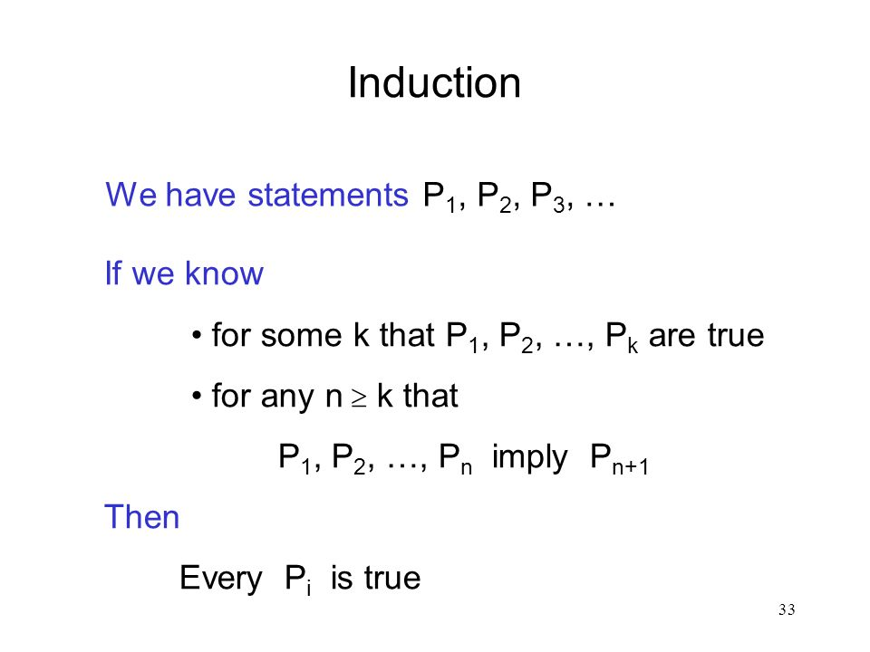 Induction We have statements P1, P2, P3, … If we know