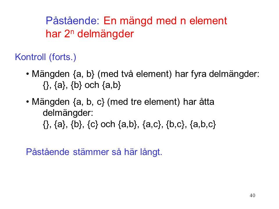 Påstående: En mängd med n element har 2n delmängder