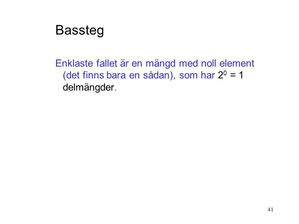 Bassteg Enklaste fallet är en mängd med noll element (det finns bara en sådan), som har 20 = 1 delmängder.
