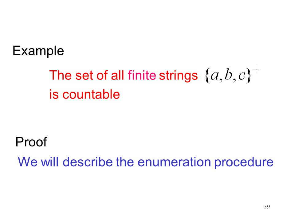 Example The set of all finite strings is countable Proof We will describe the enumeration procedure
