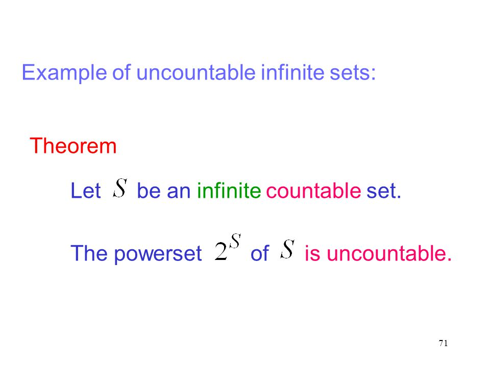Example of uncountable infinite sets:
