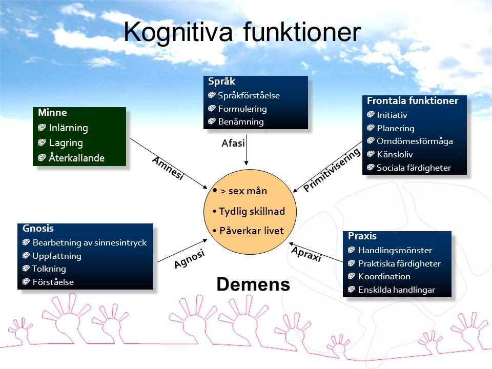 Kognitiva funktioner Demens > sex mån Språk Frontala funktioner