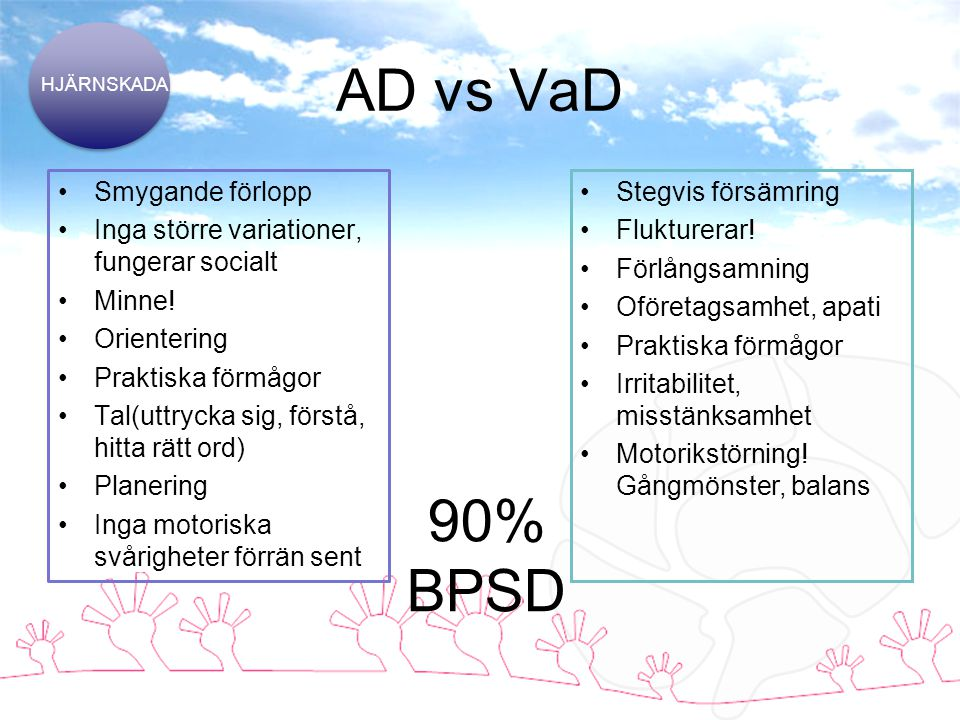 AD vs VaD 90% BPSD Smygande förlopp