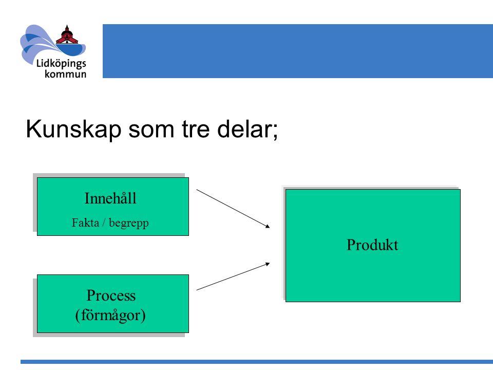 Kunskap som tre delar; Innehåll Produkt Process (förmågor)