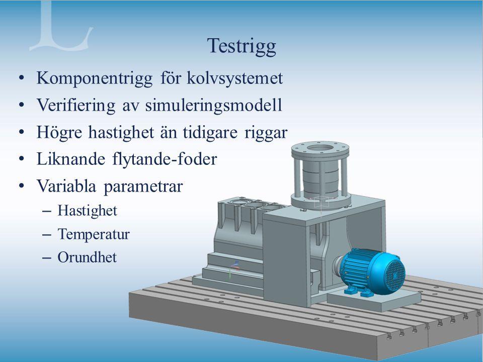 Testrigg Komponentrigg för kolvsystemet