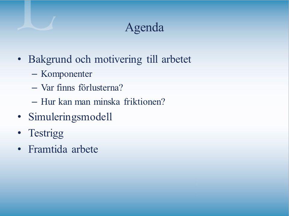 Agenda Bakgrund och motivering till arbetet Simuleringsmodell Testrigg