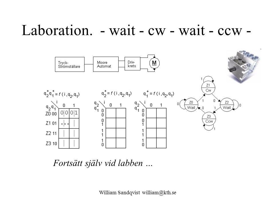 Laboration. - wait - cw - wait - ccw -