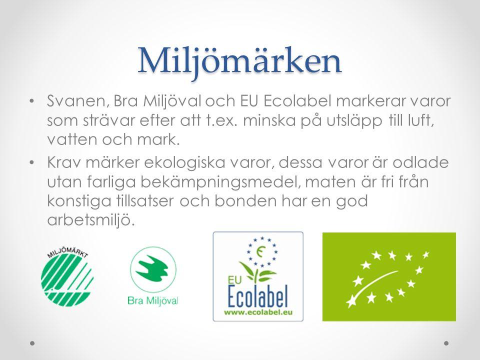 Miljömärken Svanen, Bra Miljöval och EU Ecolabel markerar varor som strävar efter att t.ex. minska på utsläpp till luft, vatten och mark.
