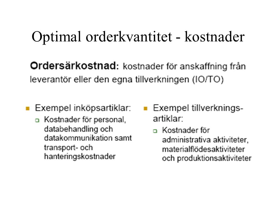Optimal orderkvantitet - kostnader