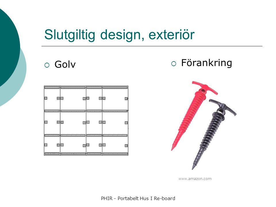 Slutgiltig design, exteriör