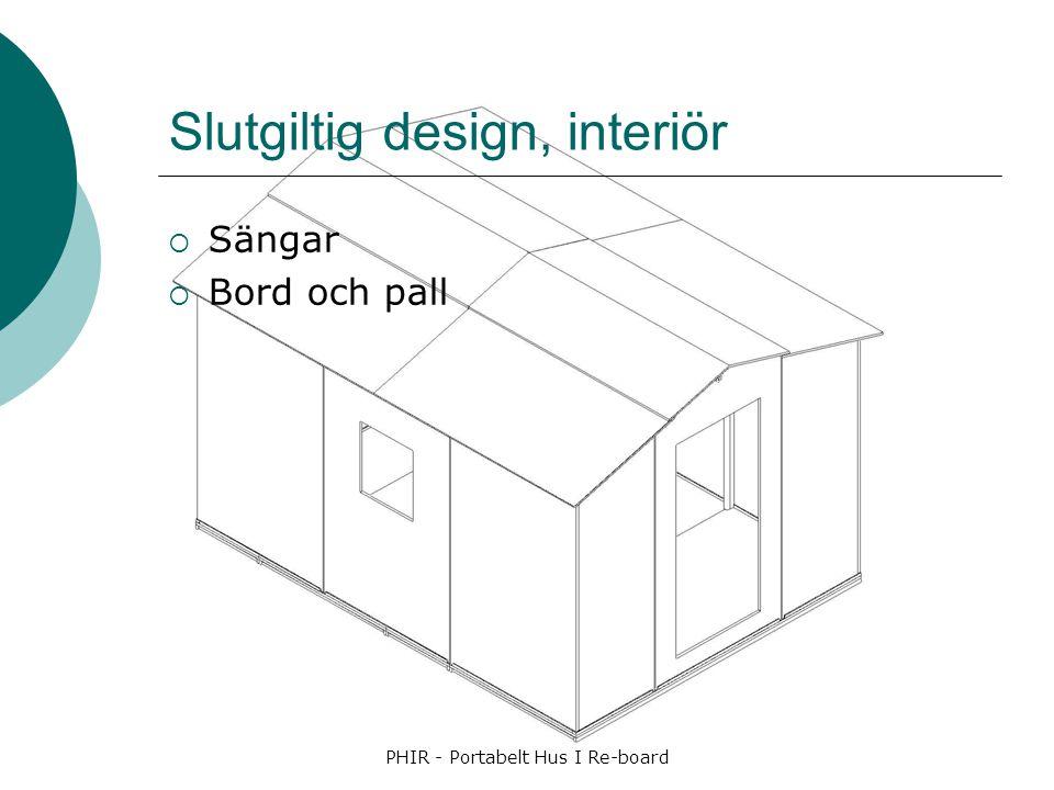 Slutgiltig design, interiör