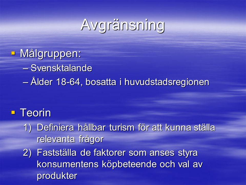 Avgränsning Målgruppen: Teorin Svensktalande